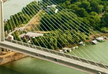 LafargeHolcim crossing rivers on the Ada bridge in Belgrade